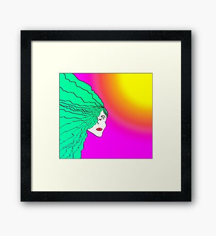 Lady Green Psychedelic Framed Print