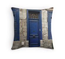 Doors n Shutters Blue Throw Pillow