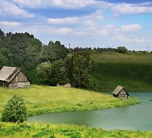 The old village by a lake in Lithuania by Antanas