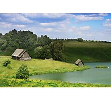 The old village by a lake in Lithuania Photographic Print