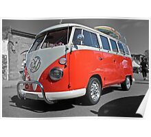 Orange Volkswagen Kombi with surfboard. Poster