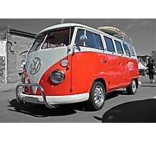 Orange Volkswagen Kombi with surfboard. Photographic Print