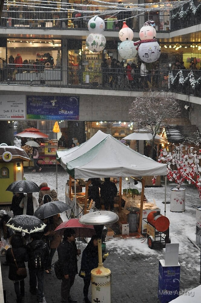 Strange Shopping Mall in Insadong Seoul in the Snow by Christian Eccleston