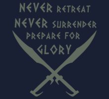 Never Retreat-Never Surrender-Prepare for Glory-Spartan Kids Clothes