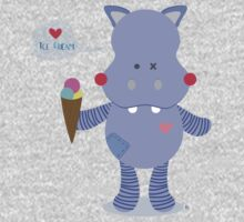 Hippo loves Ice Cream One Piece - Short Sleeve