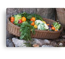 fruit and vegetables in the basket Canvas Print