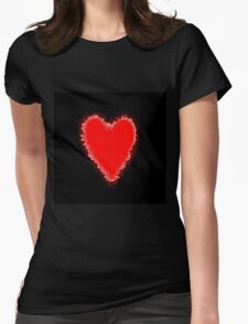 Red Heart on black Womens Fitted T-Shirt