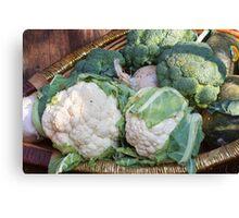 cauliflower in the basket Canvas Print