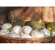 onions and pumpkins in the basket Photographic Print