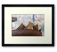 burning wood Framed Print