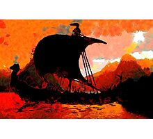 A Viking Longship at Sunset Photographic Print