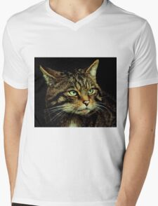 Scottish Wildcat close up Mens V-Neck T-Shirt