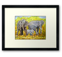 Out of Africa Elephant group acrylic painting by Coolart Framed Print