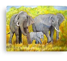 Out of Africa Elephant group acrylic painting by Coolart Canvas Print