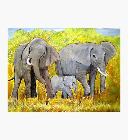 Out of Africa Elephant group acrylic painting by Coolart Photographic Print