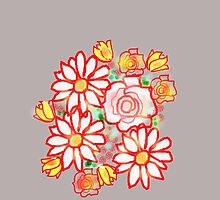 Bonny Flowers COLLECTION TEES,CASES,CUSHION BAGS.ETC by Shoshonan