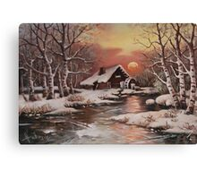 Old mill in the snow Canvas Print