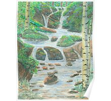 Waterfall - Oil Pastels Poster