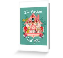 I'm Cuckoo For You - Vintage Cuckoo Clock Illustration for Valentines Day Greeting Card
