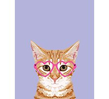 Mackenzie - Orange tabby cute girly cat with hipster glasses and purple pastel lavender for art prints cell phone trendy girls  Photographic Print