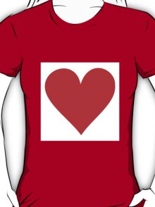 Red heart on white T-Shirt