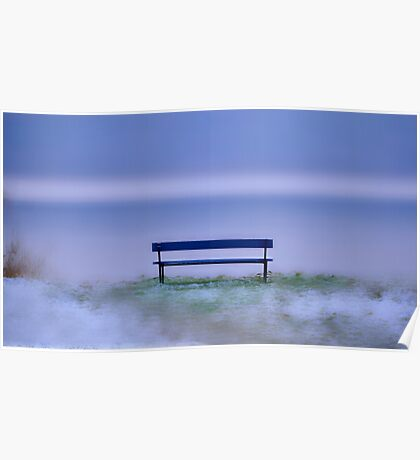 A snowy Bench at a frozen Lake............. Poster