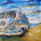 VW Volkswagen Campervan on beach by mattoakley