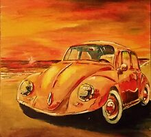 VW Volkswagen Beetle on Beach at Sunset by mattoakley