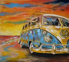 VW Volkswagen Campervan at Sunset by mattoakley