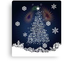 Winter holiday card with abstract Christmas tree and decorative snowflakes Canvas Print