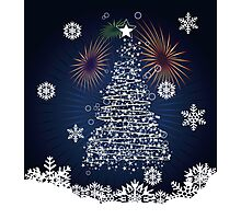 Winter holiday card with abstract Christmas tree and decorative snowflakes Photographic Print