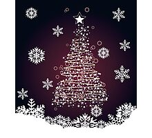 Winter holiday card with abstract Christmas tree and decorative snowflakes 2 Photographic Print