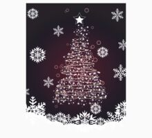 Winter holiday card with abstract Christmas tree and decorative snowflakes 2 Kids Tee