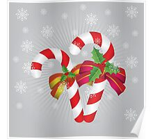 Two candy canes with bows Poster