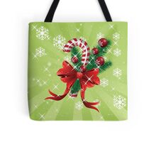 Holiday background with candy cane and bow Tote Bag