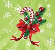 Holiday background with candy cane and bow by AnnArtshock