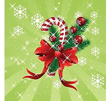 Holiday background with candy cane and bow Photographic Print