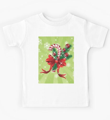 Holiday background with candy cane and bow Kids Tee