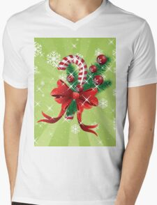 Holiday background with candy cane and bow Mens V-Neck T-Shirt