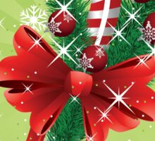 Holiday background with candy cane and bow Sticker