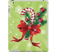Holiday background with candy cane and bow iPad Case/Skin
