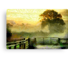An English Country Scene in the Mist - all products Canvas Print