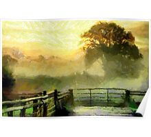 An English Country Scene in the Mist - all products Poster