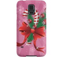 Holiday background with candy cane and bow 2 Samsung Galaxy Case/Skin
