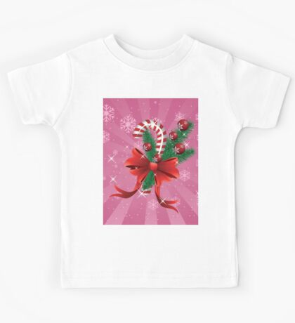 Holiday background with candy cane and bow 2 Kids Tee