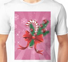 Holiday background with candy cane and bow 2 Unisex T-Shirt
