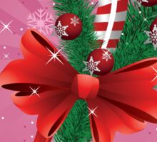 Holiday background with candy cane and bow 2 Sticker