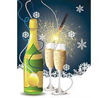 Card with champagne 2 Photographic Print