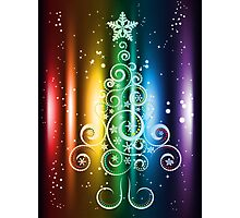 Greeting card design with abstract Christmas tree Photographic Print