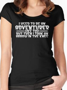 I USED TO BE AN ADVENTURER LIKE YOU, BUT THEN I TOOK AN ARROW IN THE KNEE funny geek nerd Women's Fitted Scoop T-Shirt